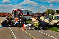 mock accident scene
