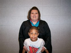 My son and I at my graduation.
