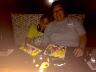 Me and my Son (Ethan) at our 1st Melting Pot experience
