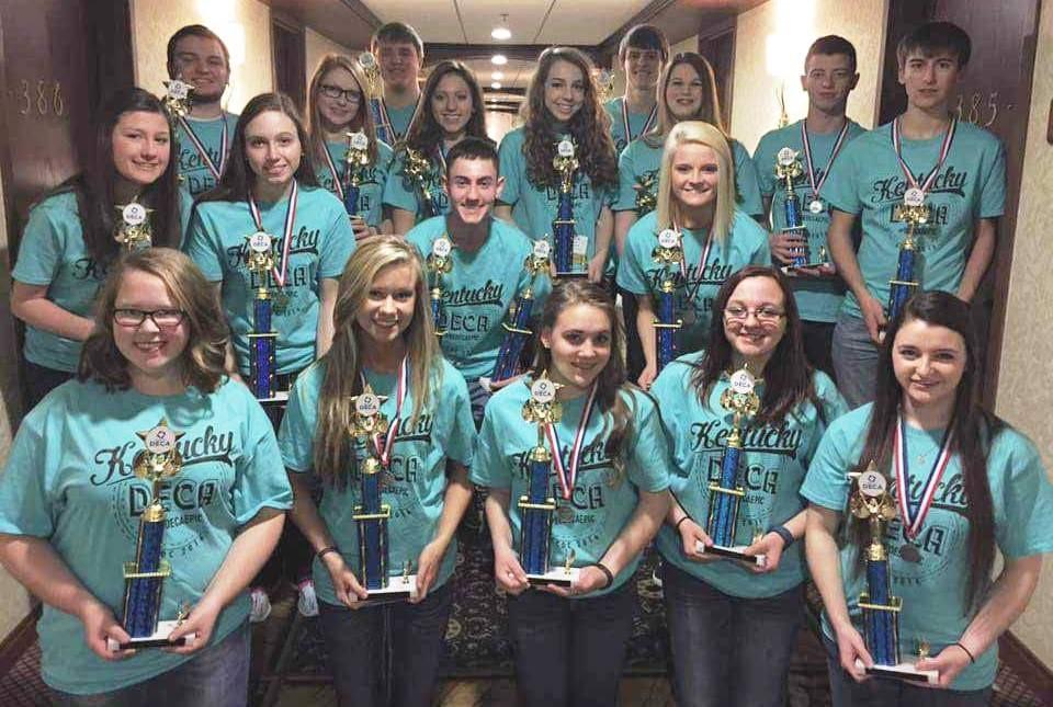 Award-winning DECA club members at state.