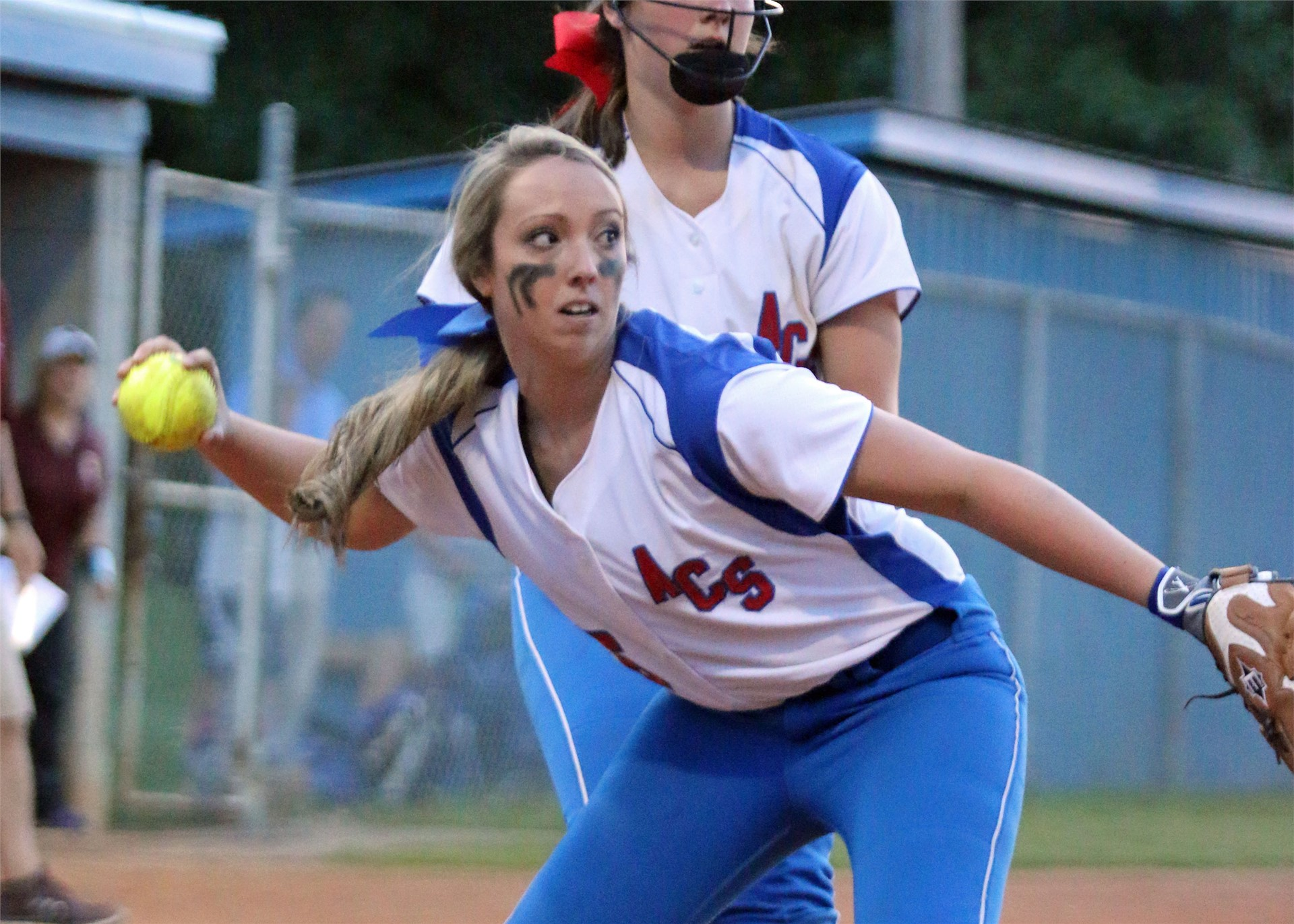 AC-S's Mallory Marr eyes an out.