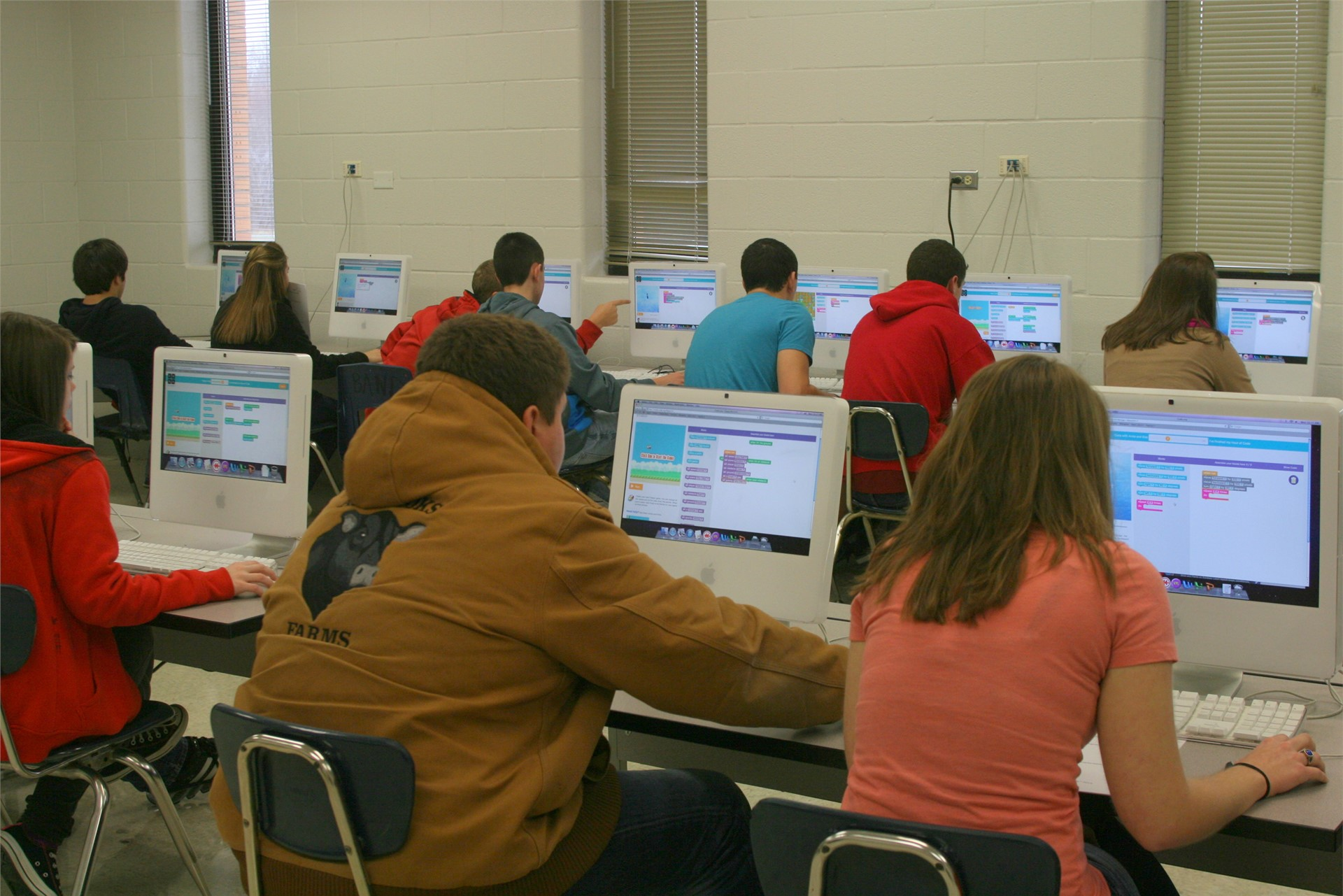 Computer Science students learning about coding.