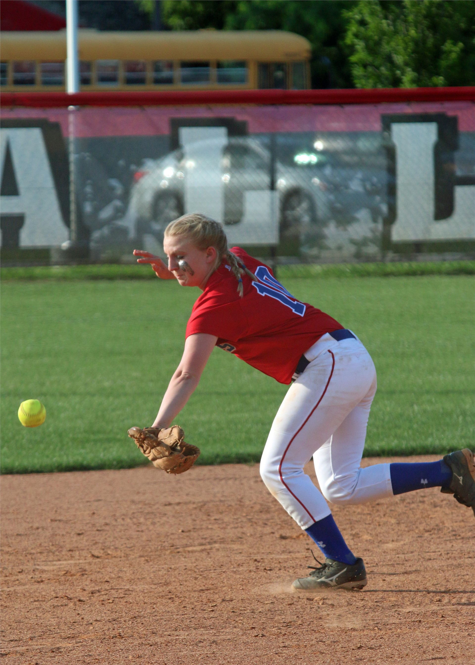 Lady Patriot Macy Pruitt goes after ball.