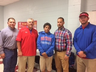 My son, Ethan with his MS Football Coaches