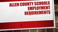 Allen County Schools Employment Requirements